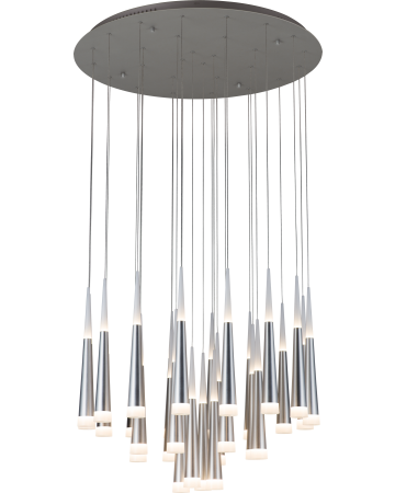 Meteor Series Pendant - Silver 28 Light - Remote Control Dimming