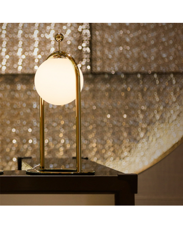 Linglong L Table Lamp in Antique Brass
